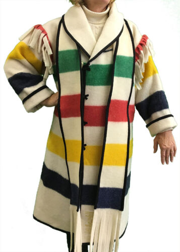 AuSable® Brand Full Wool Capote Coat Multi-Stripe Color Size Large (6