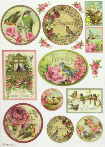 Rice Paper for Decoupage Scrapbook Craft Sheet - Birds and Balcony