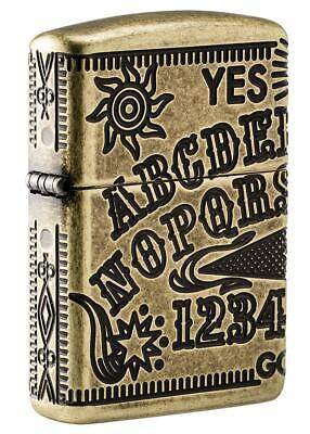 Zippo 49001, Ouija Board, Antique Brass Lighter, 360 Degree Mulit-Cut Armor