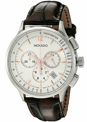 Movado Circa Chronograph White Dial Leather Men Watch 0606576 - New Arrival Sale