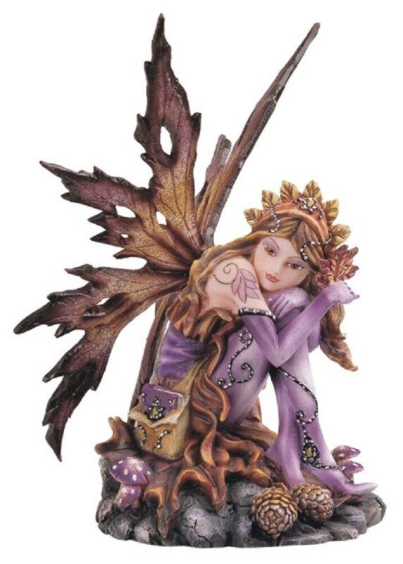 Sitting Autumn Fairy with Pinecones Fantasy Figurine Pixie Faerie Decoration New
