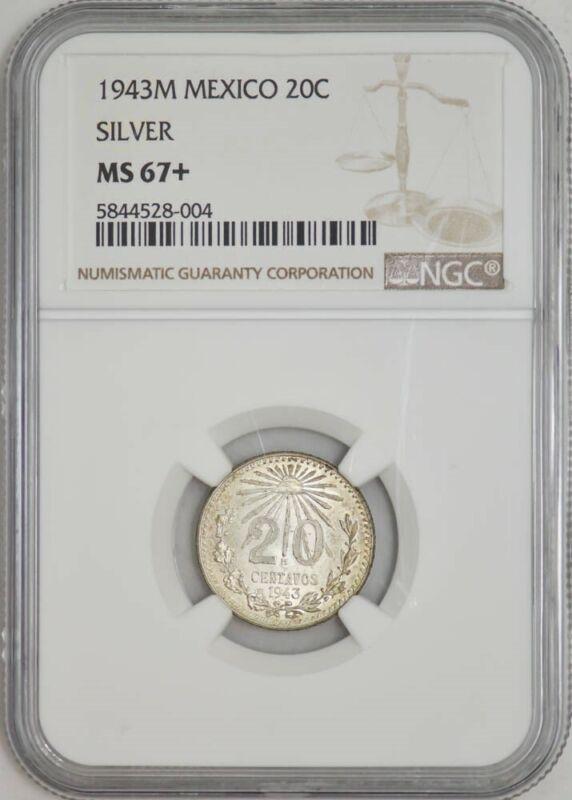 1943M Mexico 20 Centavos Silver MS67+ NGC 942947-31