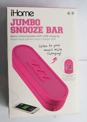 Ihome Im14pc Jumbo Snooze Bar Alarm Clock With Usb Charging [pink]