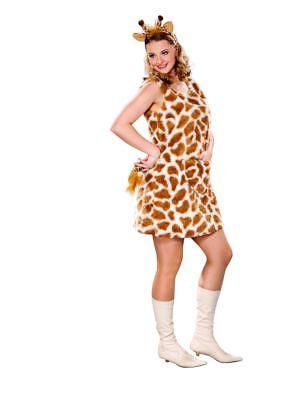 FM - Damen Kostüm Giraffe Kleid Haarreif Karneval Fasching