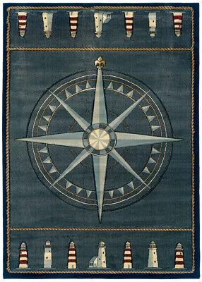 Blue Nautical Carpet Nautical Compass Lighthouse Nautical Rope Olefin Area Rug