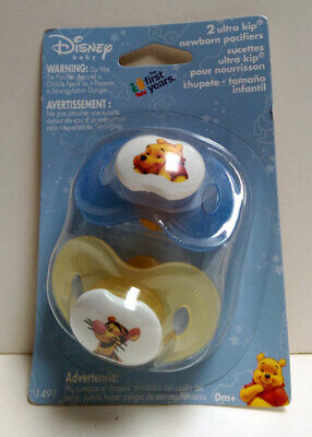 2 Disney POOH & TIGGER Ultra Kip Baby Pacifiers 0+ Mo The First Years NIP YL BL