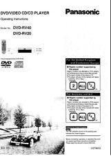 Panasonic DVD-RV20 DVD-RV40 DVD Player Owners Instruction
