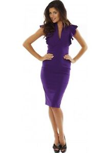 Hybrid Frill Sleeve Deep V Neckline Pencil Midi Wiggle Dress 8-16 £85