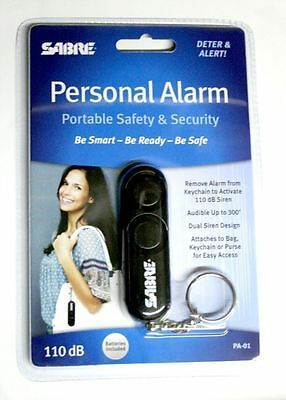 Sabre Personal Alarm Keychain Black 110 dB Siren Audible Up to 300' PA-01