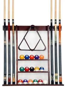 NEW Iszy Billiards 6 Pool Cue, Billiard Stick Wall Rack Made of Wood, Mahogany Finish Condtion: New. Missing Hardware...