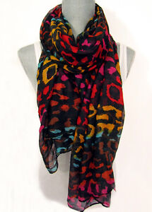 COLORFUL LEOPARD SCARF lightweight wrap shawl cheetah animal print spring summer