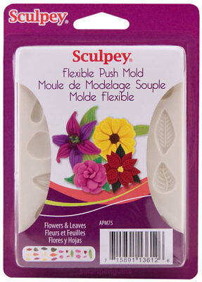 Sculpey Flexible Polymer Clay Mold - Sculpey Flexible Push Mold Flowers & Leaves Set Polymer Clay Soap Wax