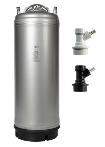 New 5 Gallon Ball Lock Beer Keg - Gas & Liquid Barbed Disconnects - Ships Free!