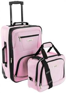 NEW ROCKLAND Luggage 2-Piece Set, Pink, One Size Condtion: New, One Size, Pink