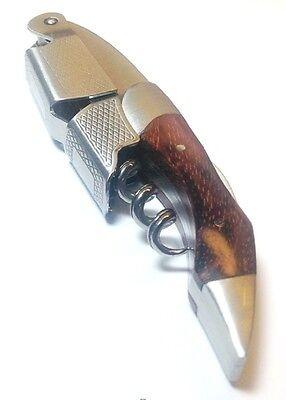 Deluxe Waiters Corkscrew - Deluxe Wood Handle Professional Corkscrew Double Hinge Waiters Wine Key Silver