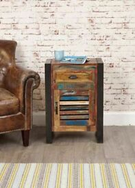 Reclaimed Boat Wood Rustic Industrial One Door One Drawer Lamp Table / Unit