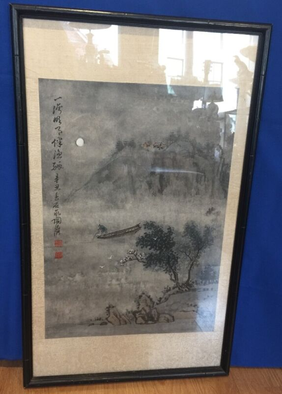 Fine Antique Chinese Qing Scroll Landscape Ink Watercolor Painting Signed Framed