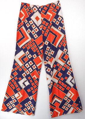 Vintage 70s Orange/Blue Graphic Mod Print Barkcloth Wide Leg Bell Bottom Pants S