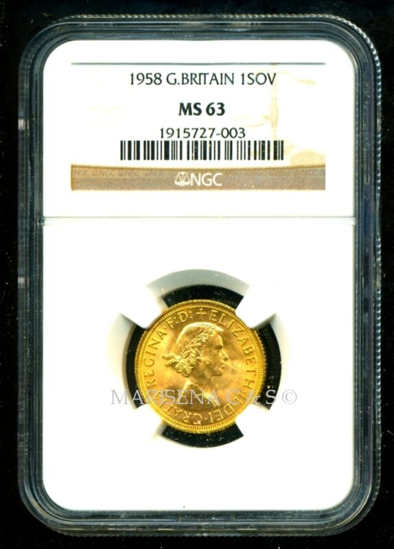 GR. BRITAIN 1958 GOLD COIN QE II SOVEREIGN * NGC CERTIFIED GENUINE MS 63 ELEGANT