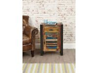 Java Rustic Industrial One Door One Drawer Lamp Table / Unit - Brand New