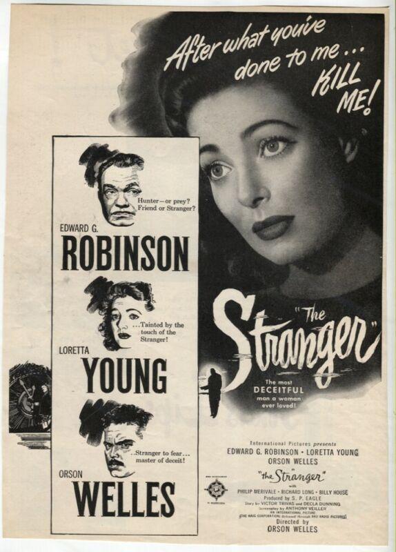 The Stranger 1946 Movie Ad Orson Welles Loretta Young Edward G VTG Magazine