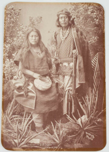 NATIVE AMERICAN INDIAN GAYETENITO & WIFE SEPIA COLOR POSTCARD OLD WEST SERIES