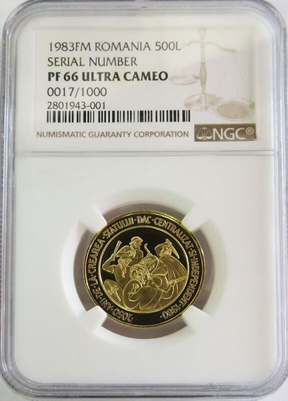 1983 Fm Gold Romania 500 Lei Independent State Coin Ngc Proof 66 Uc Serial #17