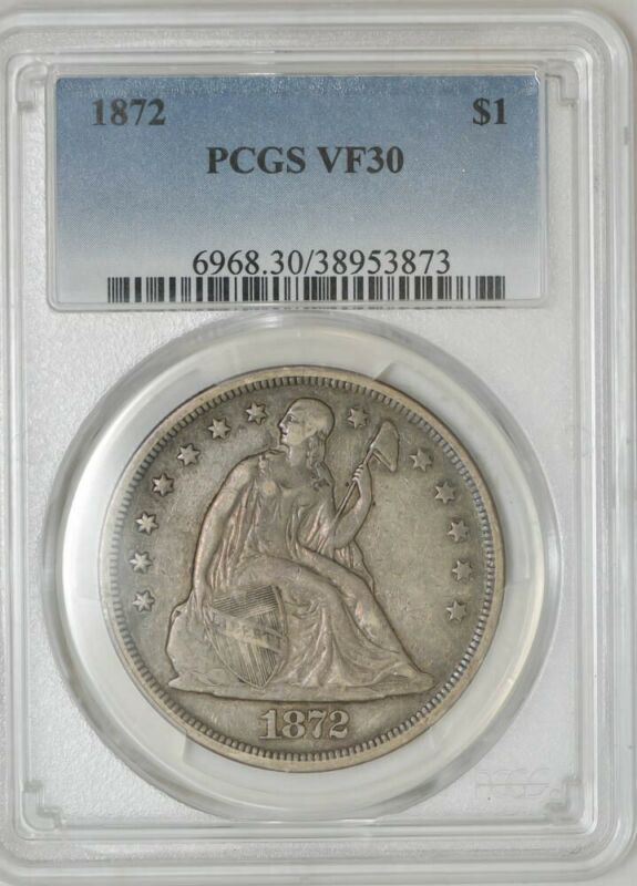 1872 Seated Liberty Dollar $ VF30 PCGS 942813-16