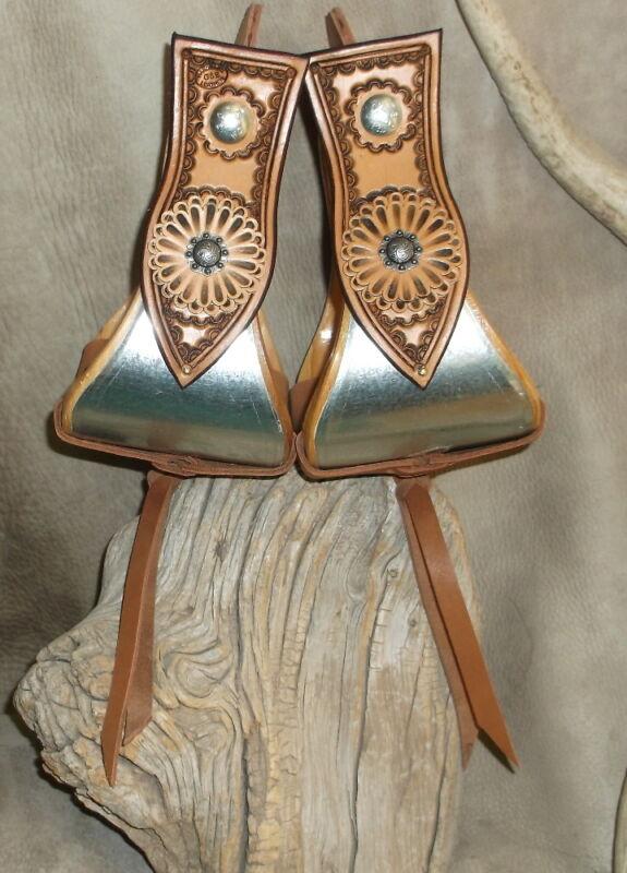 "Custom 4"" Bell Stirrups For Saddle Double Leather Rosettes Conchos. US made G&E"