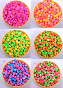 FREE-SHIP-Wholesale-50pcs-8mm-Fluorescent-Acrylic-Round-Charm-Spacer-Beads