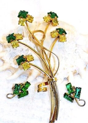 Antique Brooch Set Art Deco Sterling Silver Gold Washed Vermeil Green Earrings