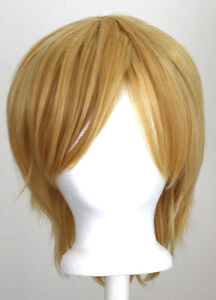 11-Short-Straight-Layered-Light-Yellow-Blonde-Synthetic-Cosplay-Wig-NEW