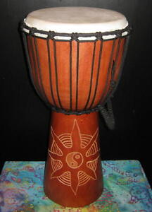 Djembe, 20x10 Tan Yin Yang Carved Design, Bongo Hand Drum