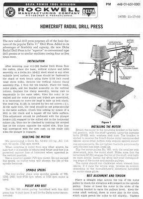 """Delta Rockwell 11-280 Homecraft Radial Drill Press (32"""") Instructions"""