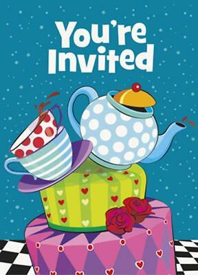 Mad Hatter Tea Birthday Party Invitations Alice in Wonderland 8 Count Supplies - Alice In Wonderland Party Invitations