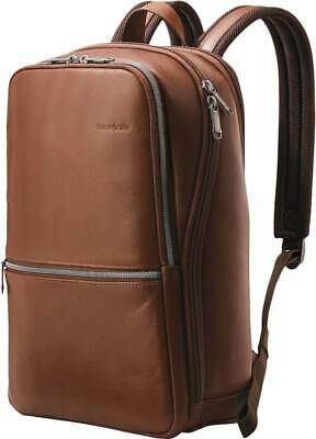 "Samsonite - Classic Leather Slim Backpack for 14.1"" Laptop - Cognac"