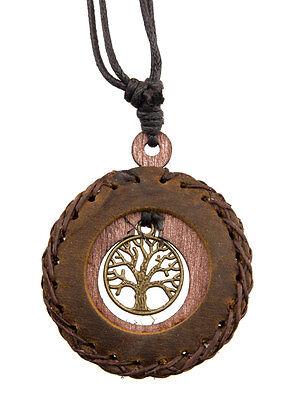 Halskette Baum von Leben Celtic Leder Braun-Holz - Schmuckstück Ethnisch Billig