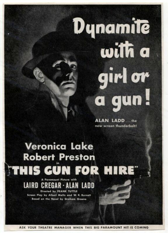 VTG THIS GUN FOR HIRE 1942 NOIR Movie Ad Veronica Lake Alan Ladd Mag Print AD