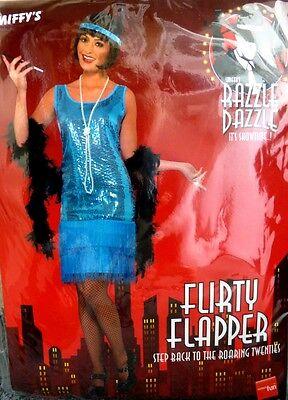 Smiffy'sn Flirty Flapper Damen Pailetten Kostüm BLAU 20er Charleston Fasching  (Damen Flirty Flapper Kostüm)