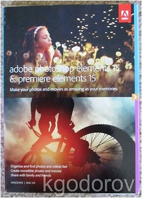 Adobe Photoshop Elements 15 & Premiere Elements 15 for Windows & Mac Brand New