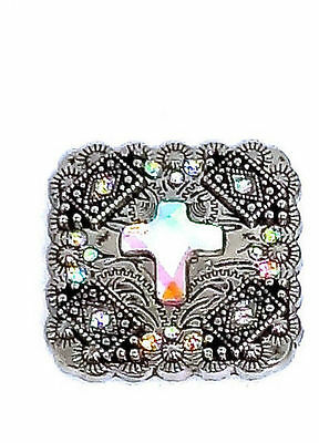 New Western Rhinestone Concho - Western Cowgirl Rhinestone Concho Leather Bridle Rodeo Jewelry Crystal