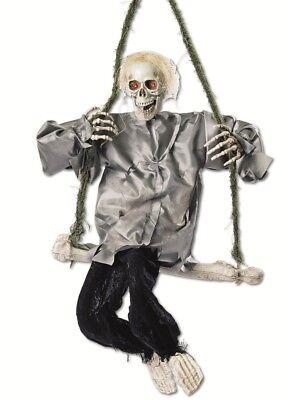 Animierte Skelett Knochenschaukel 90x50cm Dekofigur Zappelbeine - Animierte Halloween Skelett