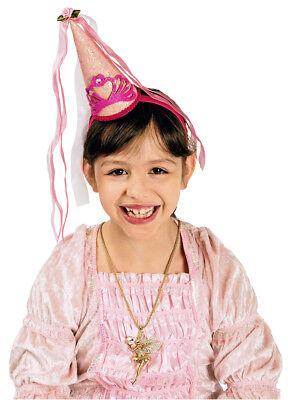 Kinder Burgfräulein Spitzhut Haarreif mit Minihut Mädchen Rosa Prinzessin - Mit Rosa Haaren Kostüm