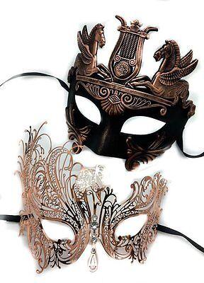 Gladiator Couples Costumes (Bronze Gold Elegant Couples Gladiator Masquerade Mask Set Wedding Prom)