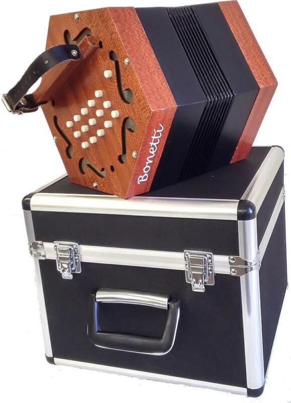 Bonetti 30 Button Natural Finish Concertina Accordion w/Case