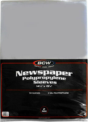 """(50) BCW SSLV-NP-14X19 Newspaper Bags Covers Sleeves 14 1/8"""" x 19 1/8"""" Protect"""