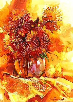 ACEO/Sunflowers/still life/ LE Print of Original Painting by Ljuba Hahonina