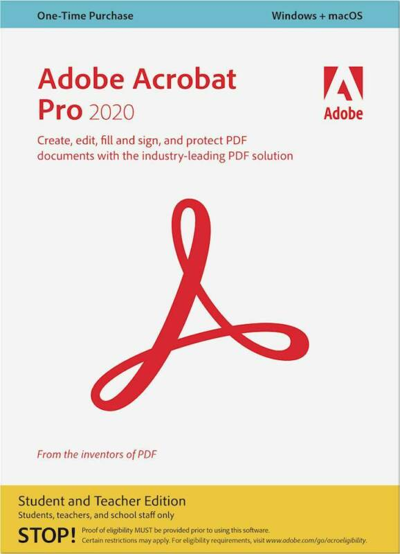 Adobe - Acrobat Pro 2020: Student And Teacher Edition - Mac, Windows