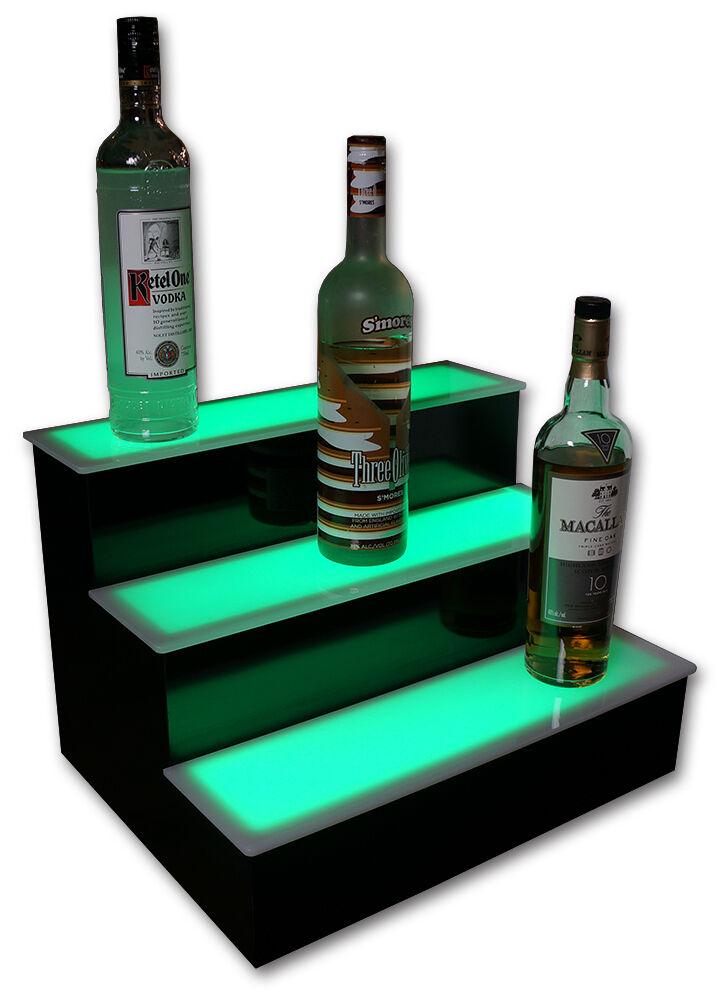 18 Quot 3 Step Lighted Led Color Changing Bottle Shelves Ebay