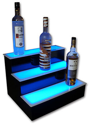 18 3 Step Tier Led Lighted Shelves Illuminated Liquor Bottle Bar Display Stand